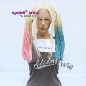 Halloween Cosplay peluca suicidio Squad Harley Quinn Ponytail peinado peluca de encaje frontal Natural Blonde Ombre rosa azul Harley Quinn cola de caballo peluca