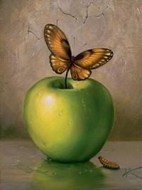 Encadré Vladimir Kush, Pomme Verte, Haute Qualité Pure Peint À La Main Célèbre Abstrait Mur Art Peinture À L'huile Sur Toile Différentes Tailles Ab192