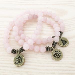 SN1107 Genuine ottone Rosa Quarzo Bracciale epoca OM Buddha Lotus Charm Bracelet migliore regalo per lei