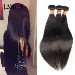 8A Peruano Indiano Malaio Brasileiro Virgem Do Cabelo Humano Weave Bundles Onda Do Corpo Em Linha Reta Solto Água Profunda Curly Natural Preto Mink cabelo