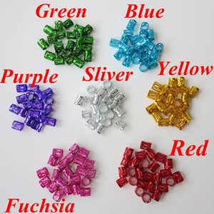 100 unids / lote Colorido Link Beads Anillos Havana Mambo Beads Box Braid Hair Braids Cuff Clip Dreadlock Beads Ajustable 10x7mm 7 colores opcionales