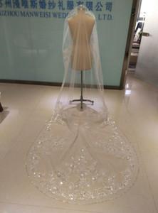 2019 Eine Schicht Brautschleier 3 Meter Lange Kathedrale Länge Strass Perlen Real Image Tüll Brautschleier Mit Kamm