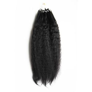 """Grueso Yaki Loop Cabello humano Grado 8a + Micro Loop Ring Extensiones de cabello Paquetes de cabello humano Extensiones rectas Yaki 100g / pc 10 """"- 28"""""""