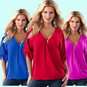BORRUICE Mode Frauen Blusen Sexy V-ausschnitt ZIpper Halbes Hülsenhemd Frauen Plus Größe 5XL Bluse Beiläufige Lose Blusas Frauen Tops
