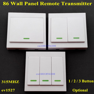 Wholesale-86 Wall Panel Remote Transmitter 1 2 3 Button Sticky RF TX Smart Home Room Hall Living Room Bedroom Wirelss Remote315 433 ev1527