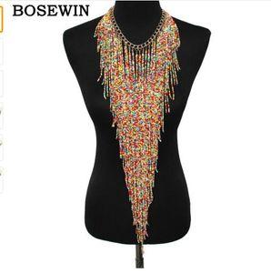 البوهيمي نمط تصميم المرأة الأزياء سحر مجوهرات الراتنج الخرزة اليدوية طويل الشرابة بيان رابط سلسلة المختنق قلادة CE4187