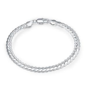 5 mm de ancho 20CM 925 pulsera de plata pulseras clásicas brazaletes de la serpiente plana pulsera de cadena de moda de los hombres hermosos regalos para el amante de la joyería de la señora