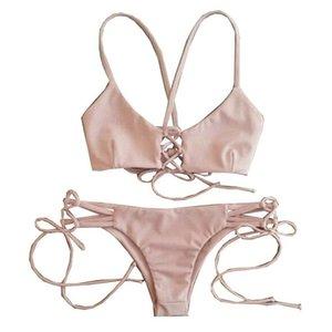 Bikini para mujer Traje de baño rosa Traje de baño Bandeau Push Up Bra Trajes de baño Envío gratis