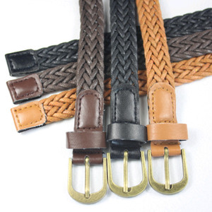 Women Leather Belt Braided Belts Wax Rope Bronze Buckle Fashion Dress Ornaments