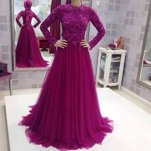 Moda Muçulmano Roxo Lace Manga Longa Vestidos de Noite Com Hajab Alta Neck Frisado Dubai Abaya Formal Vestidos de Festa 2017