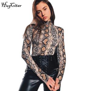 뱀 피부 곡물 인쇄 긴 소매 높은 목 bodysuits 가을 여성 거리 패션 섹시 snakeskin bodysuit 171104