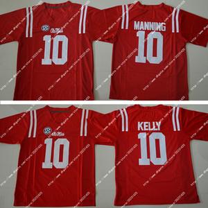 2018 Мужчины Новый Дешевые Eli Manning 10 Чад Келли Американский колледж выпускников Футбол Джерси Мужчины красный Jerseys Вышивка логотипы сшитые Смешанный заказ