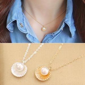 Collana donna in argento 925 placcato Collana iniziale Collana a catena Collana di perle conchiglia catena pendenti Pendenti Collana collana di perle