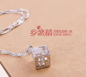 Love Cube Ciondolo in argento sterling 925 Gioielli scatola con diamanti Catena femminile Love Cube Square NO CATENA Regalo di Natale DHL