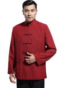 Mezcla de historia de Shangai Chaqueta de lana de época de china Ropa de los hombres Chaqueta de tendencia nacional abrigo prendas de vestir exteriores Tang traje rojo