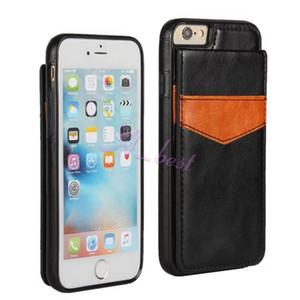 Custodia in TPU ibrida in pelle per iPhone 8 con cornice retro e porta carte di credito per iPhone 7 6 Plus