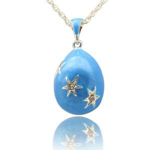 Collar de esmalte de color puro estilo estrella huevo ruso collar colgante pavimentado Faberge huevo colgante collar para el día de Pascua