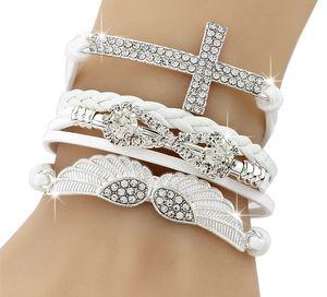 New DIY Vogue Jewelry Leather Cross Angel's Wing Rhinestone Charm Bracelet