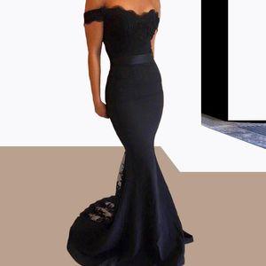 Vente chaude Noir Longues robes de bal sirène de l'épaule avec Sash 2021 élégante robes de soirée élégantes