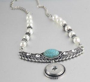18 мм NOOSA куски оснастки кнопки ювелирные изделия сплава нижняя кнопка ожерелье бирюзовый жемчуг бриллиантовое ожерелье круглый кулон noosa ожерелье sanps