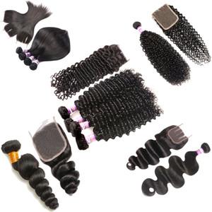 9A profunda Brasileiro Wave 3 Pacotes com laço Encerramento frontal brasileira Kinky Curly Água corpo solto Aceno Hetero Weave Extensões de cabelo humano