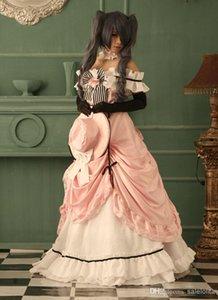 Heißer Verkauf Rosa Slash Neck Party Maxi Lolita Cosplay Kleider (umfassen Hut + Blumen + Bogen + Handschuhe)