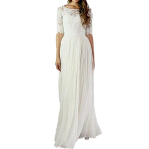 2016 Ivory Beach Wedding Dresses Cheap With Half Sleeves Lace Top Bateau Neck Long Bohemian Country Bridal Gowns Custom Made