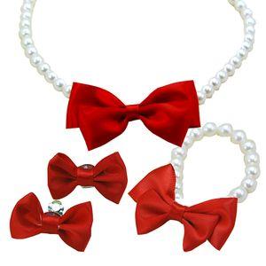 2016 nuovi capretti delle ragazze della collana del braccialetto dell'orecchio anello clip tornante imposta principessa rosso bowkont gioielli per bambini bambini imposta il trasporto libero