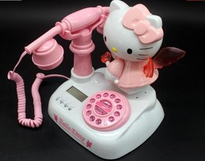 Velho tipo de botão de pressão rosa branco 20 * 18 * 28 cm telefone antigo nível de aparência é bonito e bonito máquina tocando moda criativa