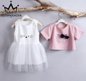 Free shippingIn the summer of new children's suit Han edition bowknot cat child dress 2 0 to 3 years old children's clothing