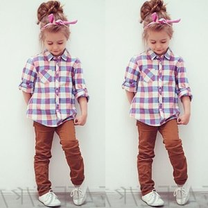 high quality girls fashion tshirt Casual Baby Kids Little Girl's Tops Long Sleeve Plaid Shirts casual T-shirt Blouse one-piece girl t shirt