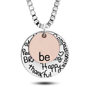 "2019 Vente chaude or rose ""Be"" Graffiti Friend Brave Heureux Forte Thankfull Charme Colliers Pendentif coin lettre lettre bijoux whosale"