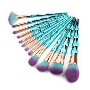 12 stücke Pro Make-Up Pinsel Kosmetische Puder Foundation Make-Up Pinsel Blau Grün Professionelle Kosmetik Pinsel Kit