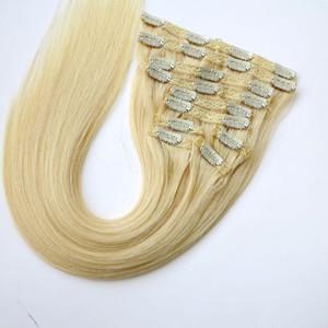 120g 10pcs / 1set 헤어 익스텐션 클립 Brazilian Human Hair 20 22inch # 613 / Bleach Blonde 인디안 스트레이트 헤어 익스텐션
