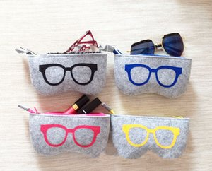 4 Cores Requintado De Lã De Feltro De Pano De Óculos Caixa De Óculos De Sol Das Mulheres Caixas Crianças Saco Com Zíper 20 Unidades / lote Frete Grátis