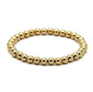 Vendita calda 1 pz 6 mm pietra naturale perline gioielli placcato oro reale tondo perline di rame bracciali da uomo miglior regalo