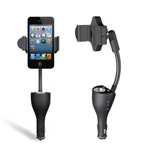 """حامل هاتف للسيارة عالمي مع حامل USB لشاحن Cigarette Lighter Cradle Stand لهاتف iPhone Samsung Nokia HTC Xiaomi 3.5-5.3 """""""