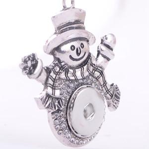 Noel Yapış Kolye Gümüş Değiştirilebilir Takı Uyar 18 MM Noosa Zencefil Snaps Chunk Charm Düğme Kadınlar Kız Çocuk Noel Hediyesi