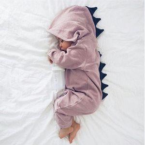 Baby-Dinosaurier Body Langarm mit Kapuze Reißverschluss Jumpsuits Cartoon Kinder kletternde Kleidung Baby-Kleidung Top-Qualität