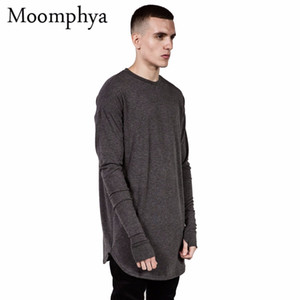 Großhandels-Langart Mens-Oberseiten-T-Shirt volle Hülsen-T-Shirt mit Daumen-Loch-Manschetten T-Shirt hohe Straßen-Abnutzungs-Hemd gebogene Hem swag T-Shirt