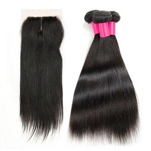 3 faisceaux de cheveux avec 1 Top Top dentelle fermeture 100% non transformés armure de cheveux Remy et fermeture brésilienne péruvienne Straight Virgin Extensions de cheveux