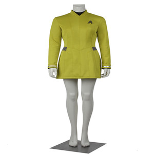 Popular Movie Star Trek Uhura Cosplay Costumes Dress Yellow Color Uniform Female Duty with Badge Customize