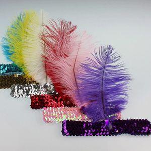 Atacado-Feather Headband Flapper Lantejoula Traje Fancy Dress Hair Band Dancing Party