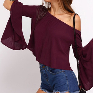 Autumn Blusas Femininas 2016 Women Blouses Shirts Butterfly Sleeve Off Shoulder Slash Neck Rufflers Solid Tops