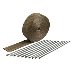 New Titanium Thermal Header Pipe Titanium Lava Exhaust Wrap, 30ft With 6 Pieces Of Ties Kit