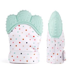 Silikon Bebek Eldiveni Diş Çıkarma Mitten Eldiven Dişlikleri Çiğneme Yenidoğan Hemşirelik Diş Kaşıyıcı Boncuk Bebek BPA Ücretsiz Ses Teethers Xmas Hediye