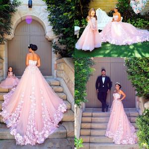 2017 Nuevos vestidos de baile románticos baratos Pink Tulle Sweetheart 3D Floral Flowers Sweep Train Tallas grandes Vestido de noche Vestidos de fiesta Vestidos formales