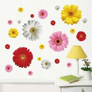 2 set PVC decalcomanie smontabili 4 colori DIY Daisy fiori decorativi adesivi murali per la decorazione della parete della casa di arte LM613