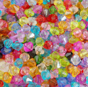 Free 1000Pcs Mixed 6mm Acrylic Crystal Bicone Spacer Beads For Jewelry Making HOT