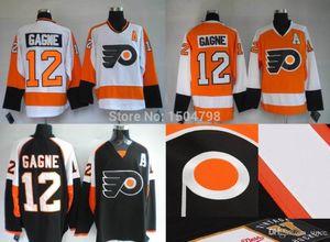 2016 New Mens Philadelphia Flyers # 12 Simon Gagne 하키 유니폼 화이트 / 블랙 / 오렌지, 새 스티치 유니폼, 자수 로고, Si